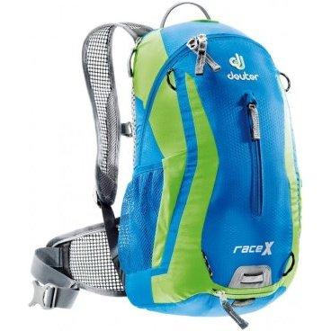 Велосипедный рюкзак Deuter Race X, с чехлом, 44х24х18, 12 л, голубой/зеленый, 32123_3224