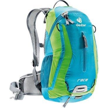 Велосипедный рюкзак Deuter Race, с чехлом, 42х21х16, 10 л, голубой/зеленый, 32113_3214