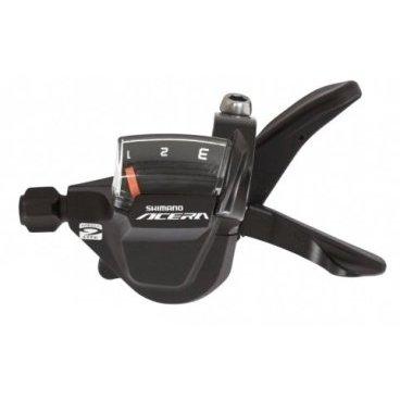Шифтер Shimano Acera M3000, задний/правый, 2050 мм, 9 скоростей, ASLM3000RAМанетки и Шифтеры<br>SHIMANO<br>SL-M3000 ACERA<br>Шифтер RAPIDFIRE Plus, правый (9 скоростей)<br><br>• Плавное и легкое переключение<br>— эргономичная форма ручки, более плоская форма<br>• Четкий индикатор передач с цифрами для быстрого<br>определения выбранной передачи<br>• Простая, компактная конструкция<br>• Тросик переключения в комплекте<br>