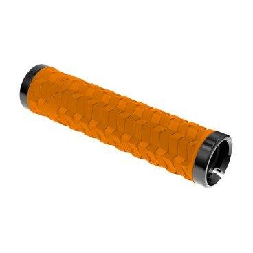 Грипсы KELLYS KLS POISON, 135 мм, 2 грипстопа, пластиковые заглушки, оранжевый цена