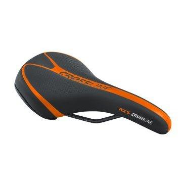 Седло для велосипеда KELLYS CROSSLINE, MTB, 262х175 мм, технология zone cut, чёрно-оранжевое