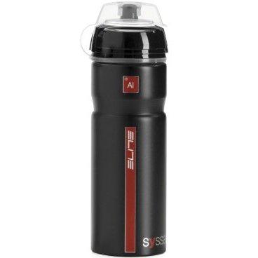 Фляга Elite Syssa, 0.75 л, алюминий, черный глянец, защитный колпачок, EL0101211Фляги и Флягодержатели<br>Прочная эргономичная фляга с изысканным дизайном.<br>Полностью изготовленная из алюминия, Syssa - лучший выбор в качестве спортивной фляги.<br><br>- Стильный дизайн без излишеств<br>- Полностью изготовлена из алюминия<br>- Эргономичное резиновая накладка<br>- Не содержит BPA и тяжелых металлов<br>- Совместима со всеми флягодержателями<br>- Объем 750мл<br>