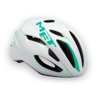 Велошлем MET Rivale, бело-зеленый