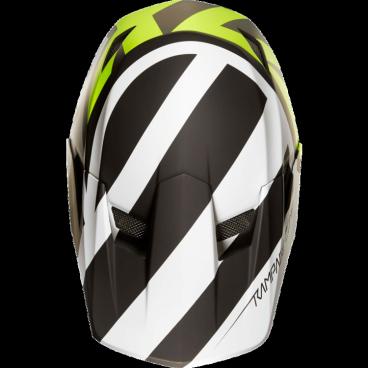 Козырек к шлему Fox Rampage Comp Creo Visor, бело-желтый, пластик, 20302-214-OSВелошлемы<br>Оригинальный козырёк для шлема Rampage Comp Creo. Изготовлен из ударопрочного пластика.<br>