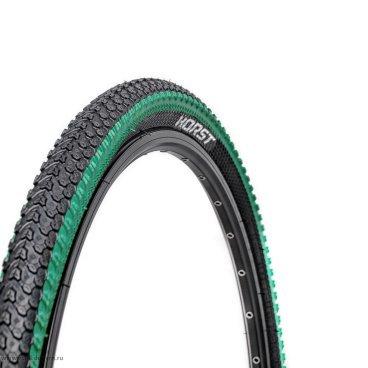 Велопокрышка Vinca Sport PQ 817, MTB, 20*2.125, черная с зеленой полоской