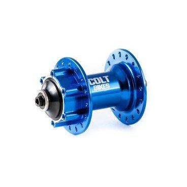 Втулка передняя ColtBikes CUP 32H QR, синий, CBHFBL29232QRВтулки для велосипеда<br>Втулка передняя Colt Bikes CUP, 32 отверстия, корпус из алюминия 7075, промышленные подшипники (6805-2rs х2шт), крепление ротора 6 болтов, вес 239 грамм.<br>