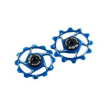 Ролики заднего переключателя A2Z Narrow wide, анодированый алюминий, 12T+14T, синий, NW-P14-4Переключатели скоростей на велосипед<br>Сменные ролики Narrow Wide для заднего переключателя из анодированного алюминия.<br>