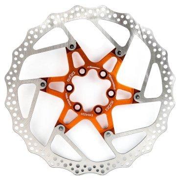Тормозной диск A2Z ATD, 180 мм, 6 болтов, оранжевый, ATD-180-5Тормоза на велосипед<br>Тормозной диск A2Z ATD сделан из двух частей для уменьшения веса и более эффективного охлаждения. Центральная часть ввполнена из алюминия 7075T6 с CNC обработкой предотвращает деформацию диска при перегреве.<br><br>Характеристики:<br> - Паук из сплава 7075 T6<br> - Крепление IS 6 болтов<br>