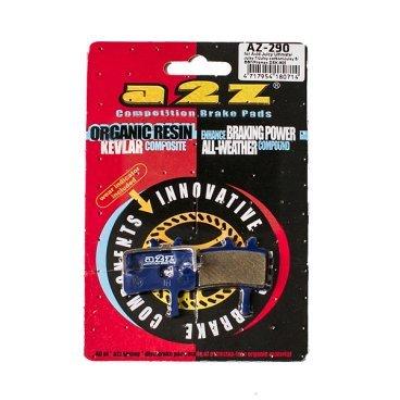 Тормозные колодки A2Z Avid Juicy Ultimate/Juicy 7/Juicy carbon/Juicy 5/BB7/Promax DSK-905, AZ-290Тормоза на велосипед<br>A2Z - небольшой тайваньский завод по производству велосипедных запчастей, специализируется на выпуске высококачественных компонентов, легких втулок, тормозных дисков, титановых эксцентриков и других деталей. <br><br>    Превосходные тормозные свойства колодок уменьшают тормозной путь<br>    Высокоэффективный состав увеличивает мощность при любых погодных условиях<br>    Все тормозные колодки A2Z сделаны из органических соединений и не содержат асбеста <br><br>Виды тормозных колодок A2Z: <br> - Blue (organic) - высокоэффективные органические колодки, на 110%* выше мощность и на 150%* дольше срок службы <br><br>*по сравнению со стоковыми колодками<br>