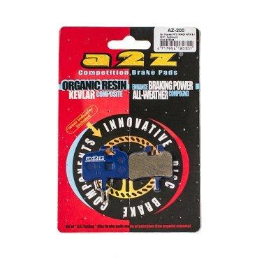 Тормозные колодки A2Z Hayes HFX MAG/ HFX 9/ MX1, синий, AZ-200Тормоза на велосипед<br>A2Z - небольшой тайваньский завод по производству велосипедных запчастей, специализируется на выпуске высококачественных компонентов, легких втулок, тормозных дисков, титановых эксцентриков и других деталей.<br><br>    Превосходные тормозные свойства колодок уменьшают тормозной путь<br>    Высокоэффективный состав увеличивает мощность при любых погодных условиях<br>    Все тормозные колодки A2Z сделаны из органических соединений и не содержат асбеста<br><br>Виды тормозных колодок A2Z:<br>- Blue (organic) - высокоэффективные органические колодки, на 110%* выше мощность и на 150%* дольше срок службы<br>- Silver (organic) - высокоэффективные органические колодки на алюминиевой подложке, легче колодок Blue на 50%<br>- Gold (Sintered) - высокоэффективные метализированные колодки, служат на 300%* больше<br><br>*по сравнению со стоковыми колодками<br>