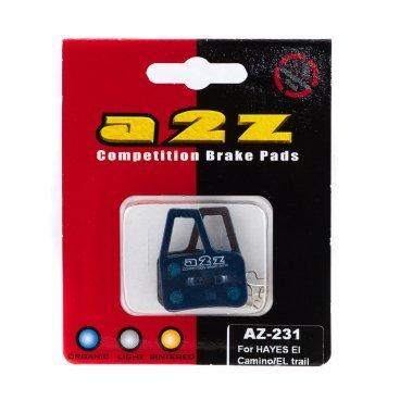 Тормозные колодки A2Z Hayes El Camino/ EL trail hydraulic, синий, AZ-231Тормоза на велосипед<br>A2Z - небольшой тайваньский завод по производству велосипедных запчастей, специализируется на выпуске высококачественных компонентов, легких втулок, тормозных дисков, титановых эксцентриков и других деталей.<br><br>    Превосходные тормозные свойства колодок уменьшают тормозной путь<br>    Высокоэффективный состав увеличивает мощность при любых погодных условиях<br>    Все тормозные колодки A2Z сделаны из органических соединений и не содержат асбеста<br><br>Виды тормозных колодок A2Z:<br>- Blue (organic) - высокоэффективные органические колодки, на 110%* выше мощность и на 150%* дольше срок службы<br>- Silver (organic) - высокоэффективные органические колодки на алюминиевой подложке, легче колодок Blue на 50%<br>- Gold (Sintered) - высокоэффективные метализированные колодки, служат на 300%* больше<br><br>*по сравнению со стоковыми колодками<br>