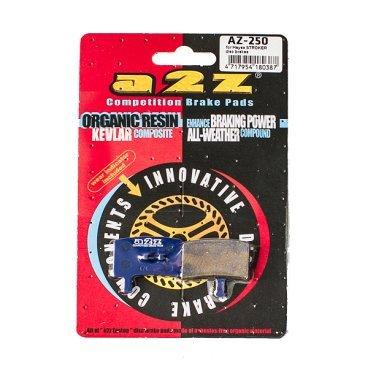 Тормозные колодки A2Z Hayes Stroker, синий, AZ-250Тормоза на велосипед<br>A2Z - небольшой тайваньский завод по производству велосипедных запчастей, специализируется на выпуске высококачественных компонентов, легких втулок, тормозных дисков, титановых эксцентриков и других деталей.<br><br>    Превосходные тормозные свойства колодок уменьшают тормозной путь<br>    Высокоэффективный состав увеличивает мощность при любых погодных условиях<br>    Все тормозные колодки A2Z сделаны из органических соединений и не содержат асбеста<br><br>Виды тормозных колодок A2Z:<br>- Blue (organic) - высокоэффективные органические колодки, на 110%* выше мощность и на 150%* дольше срок службы<br>- Silver (organic) - высокоэффективные органические колодки на алюминиевой подложке, легче колодок Blue на 50%<br>- Gold (Sintered) - высокоэффективные метализированные колодки, служат на 300%* больше<br><br>*по сравнению со стоковыми колодками<br>