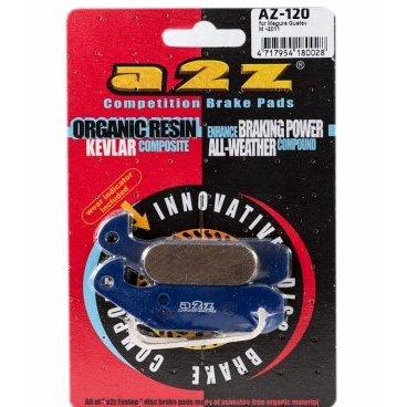 Тормозные колодки A2Z Magura Gustav M `10, синий, AZ-120Тормоза на велосипед<br>A2Z - небольшой тайваньский завод по производству велосипедных запчастей, специализируется на выпуске высококачественных компонентов, легких втулок, тормозных дисков, титановых эксцентриков и других деталей.<br><br>    Превосходные тормозные свойства колодок уменьшают тормозной путь<br>    Высокоэффективный состав увеличивает мощность при любых погодных условиях<br>    Все тормозные колодки A2Z сделаны из органических соединений и не содержат асбеста<br><br>Виды тормозных колодок A2Z:<br>- Blue (organic) - высокоэффективные органические колодки, на 110%* выше мощность и на 150%* дольше срок службы<br>- Silver (organic) - высокоэффективные органические колодки на алюминиевой подложке, легче колодок Blue на 50%<br>- Gold (Sintered) - высокоэффективные метализированные колодки, служат на 300%* больше<br><br>*по сравнению со стоковыми колодками<br>