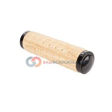 Ручки на руль M-WAVE полиуретан. отделка под дерево анатом. 130мм 2 фиск. светло-коричн. 5-410612