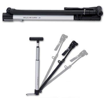 Велонасос Giyo GM-821 Micro Floor Pump, складной, авто и вело ниппель, манометр, 140 PSI, GM821Велосипедный насос<br>Giyo GM-821 – компактный насос для накачки велосипедных шин.<br>Корпус выполнен из алюминия.<br>Насос укомплектован выдвигающимся шлангом для удобного использования, ниппелями Presta и авто, высокоточным манометром и креплением на раму.<br>При необходимости его можно использовать как напольный насос.<br>