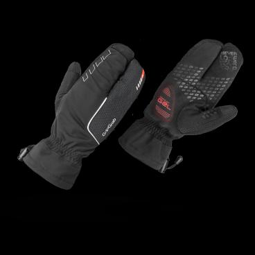 Велоперчатки зимние GripGrab Nordic, ветро- влагозащита, гелевые вставки, черныйВелоперчатки<br>Зимние перчатки Nordic – очень теплые и комфортные перчатки для катания зимой. Внешний влаго- и ветронепроницаемый слой дополнен дизайном «лобстер» и максимальной степенью термоизоляции позволяют сохранить тепла и комфорт для ваших рук в при отрицательных температурах. Трехпальцевая конструкция перчатки оставляет достаточную степень свободы для управления велосипедом.  Ладонь перчаток Nordic водонепроницаемая, специальные вставки на пальцах позволяют пользоваться тачскрином, не снимая перчаток.<br><br>    Температурный режим: от 0° С до -10° С<br>    Максимальная степень термоизоляции<br>    Ветро- и влаго непроницаемость<br>    Дышащий материал<br>    Гелевые вставки 4 мм DoctorGel™ <br>    Силиконовые вставки на ладони и пальцах<br>    Светоотражающая графика<br>    Вставки для работы с тачскрином<br>    Вставка для вытирания пота<br>    Манжета с фиксирующим шнурком<br><br>Размер перчаток XS, S, M, L, XL, XXL <br><br>Материалы<br>78% полиэстер<br>20% полиамид<br>2% эластан<br>