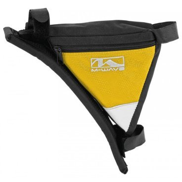 Велосипедная сумка  M-WAVE  под раму, треугольная, плечевой упор, черно-желтый, 5-122546Велосумки<br>Подсумок M-WAVE под рамный, треуголный, плечевой упор, черно-желтый<br>