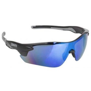 Очки велосипедные RAYON ONE MIGHTY солнцезащитные, черно-серая оправа, 5-710001Велоочки<br>Солнцезащитные очки MIGHTY, черный, голубой иридиум с линзами, с запасным линзом в прозрачном, оранжевом и дымном корпусе<br>Марка: Mighty<br>Тип: Rayon One<br>Цвет черный<br>Материал: Carbon<br>