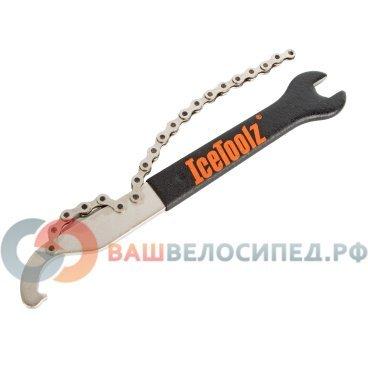 Ключ педальный Ice Toolz, 15мм, хлыст для кассеты MS/7-10ск.,  Сr-Mo сталь, 34S4Велоинструменты<br>ICE TOOLZ 34S4 объединяет в себе ключ для затяжки локринга, хлыст и гаечный ключ 15 мм. Инструмент изготовлен из качественной нержавеющей стали, что обеспечивает длительный срок эксплуатации, а виниловое противоскользящее покрытие на рукоятке обеспечивает удобный хват.<br><br>Цепь: 1/2 x 3/32<br>