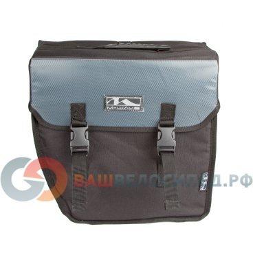 Велосумка M-WAVE боковая на багажник, 38х18х30 см, V=18л, быстросъемная, черно-серая 5-122320 рюкзак everhill cel16 pcu700c 18л