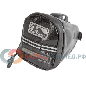 Подсумок велосипедный M-WAVE подседельный, влагозащита, быстросъемный, раскладной, черный 5-122735