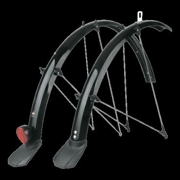 Крылья SKS Bluemels 43мм, 28, чёрные, Trekking, с направляющей для провода, 11187Крылья для велосипедов<br>SKS Крылья Bluemels 45мм, 28, чёрные, Trekking, с направляющей для провода<br><br>Длина переднего крыла: 680мм<br>Длина заднего крыла: 1185мм <br><br>Вес: 522 гр<br>