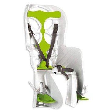 Детское велокресло на багажник 'NFUN CURIOSO, белое с зеленой вставкой, до 7лет/22кг, 01-100046