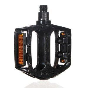 Педали BMX алюминиевые HORST, литые, широкие, с шипами, 404г/пара, с отражателями, черный, 00-170339