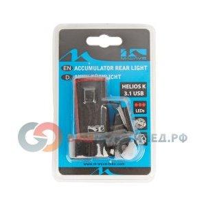 Велосипедный фонарь M-WAVE Atlas K11 задний, с USB-зарядкой, красный, 5-220558