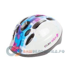 Велошлем детский NFUN CUBIX, 8 отверстий, бело-голубой, 01-100013Велошлемы<br>Велошлем 8 отверстий, с защитной сеточкой, высокопрочный пластик, технология InMold обеспечивает высокую прочность при низком весе, регулируемый, синий (дизайн CUBIX)), разработан и протестирован в Италии, инд. уп.<br>
