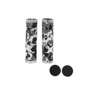 Ручки на руль для велосипеда TBS HL-G215B, 130 мм, 2 грипстопа, материал: ЭВА, белый/серый/чёрный