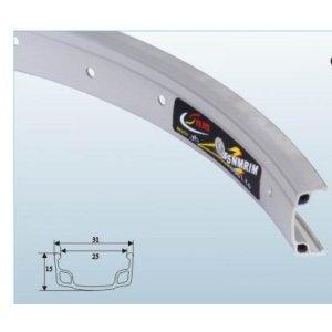 Обод TBS S25А, одинарный, 700С(28x1.5-1.95), серебристый, 25 мм, 36HОбода<br>Обод одинарный 700С(28x1.5-1.95) серебр. 36Велосипедный обод - это одна из главных составляющих колес велосипеда. Обод должен быть легким, поскольку этот вес играет важную роль при разгоне (чем больше масса и чем дальше она находится от центра колеса, тем большие усилия нужно затрачивать на разгон). Помимо небольшого веса обод должен обладать достаточной прочностью. Обод может иметь тормозную дорожку для ободных тормозов, обода без нее можно использовать только с дисковыми тормозами. Разделяют обода для разных типов велосипедов, по диаметру, количеству спиц (наиболее распространенные на 32 и 36 спиц: чем их больше, тем выше прочность, но при этом выше и вес).<br>
