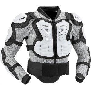 Защита панцирь Fox Titan Sport Jacket, белый 2018Защита торса<br>Защитная куртка с жёсткими пластиковыми накладками во всех критических местах. Основа изготовлена из эластичного сетчатого материала, а мягкие неопреновые вставки перфорированы для дополнительной вентиляции. Куртка застёгивается на молнию спереди и на липучку в области поясницы. Отлично подойдёт для ношения под джерси.<br><br><br><br>ОСОБЕННОСТИ<br><br><br><br>Двухкомпонентная защиты груди анатомической формы<br><br>Съёмная пластиковая защита спины<br><br>Основа изготовлена из дышащего эластичного материала<br><br>Удобная застёжка на молнии спереди<br><br>Куртка соответствует требованиям стандарта безопасности CE<br>