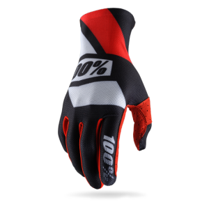Велоперчатки 100% Celium Glove, черно-красный 2017Велоперчатки<br>Максимально тонкие и лёгкие перчатки без застёжек– для тех, кто предпочитает естественное ощущение ручек руля и хорошую вентиляцию ладоней. Покатавшись в этих перчатках хотя бы немного, вы, вероятно, и вовсе забудете, что надели их.<br><br><br><br>ОСОБЕННОСТИ<br><br><br><br>Модель без застёжек<br><br>Ладонь выполнена из перфорированной искусственной кожи Clarino<br><br>Дополнительная накладка на большом пальце для гашения вибрации<br><br>Силиконовый принт на ладони и пальцах для лучшего сцепления с рулём<br><br>Накладки на пальцах из запатентованного материала Creora, который хорошо дышит и отводит влагу<br><br>Специальный элемент для работы с сенсорными дисплеями (телефона или плеера) на кончике большого пальца<br>