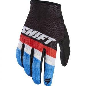 Велоперчатки Shift White Air Glove, черный 2017Велоперчатки<br>Классические вело и мотокроссовые перчатки от Shift. Верх модели выполнен из эластичного дышащего текстиля, а ладонь отделана тонкой искусственной кожей Clarino. Силиконовые накладки на кончиках пальцев обеспечивают лучший контроль ручек тормоза и сцепления.<br><br><br><br>ОСОБЕННОСТИ<br><br><br><br>Материал: текстиль/искусственная кожа<br><br>Силиконовые накладки на кончиках пальцев для лучшего сцепления<br><br>Оригинальная графика<br>