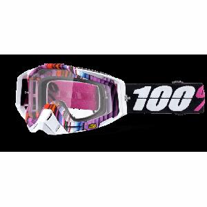 Велоочки 100% Racecraft Glitch / Clear Lens, 50100-152-02Велоочки<br>Верхняя модель линейки 100%, созданная для самых требовательных гонщиков – максимально лёгкая и удобная, обеспечивающая отличный обзор. Благодаря минималистичному дизайну и тщательно продуманным деталям эта маска отлично выглядит и выполняет свои функции на все 100 процентов. В комплекте – защита переносицы, комплект отрывных лепестков и текстильный чехол.<br><br><br><br>ОСОБЕННОСТИ<br><br><br><br>Цвет оправы/резинки: белый/сиреневый<br><br>Цвет линзы: прозрачный<br><br>В комплекте – защита переносицы, комплект отрывных лепестков и текстильный чехол<br>