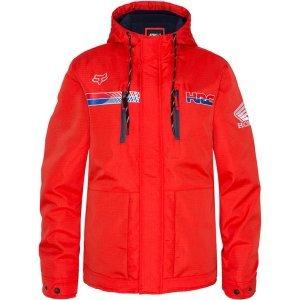 Велокуртка Fox HRC Gariboldi Roosted Jacket, красный 2018Велокуртка<br>Оригинальная куртка от Fox, которая отлично подойдёт как для занятий спортом, так и для повседневного ношения. Модель выполнена из плотной синтетической ткани и обработана влагоотталкивающим составом DWR. Основные особенности данной куртки– это регулируемый капюшон, высокий воротник, нагрудные карманы и командная расцветка Honda/HRC.<br><br><br><br>ОСОБЕННОСТИ<br><br><br><br>Материал: 100% - полоиэстер<br><br>Влагоотталкивающее покрытие DWR<br><br>Высокий воротник<br><br>Регулируемый капюшон<br><br>Нагрудные карманы<br><br>Командная расцветка Honda/HRC<br>