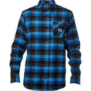 Велорубашка Fox Rovar Flannel Dust, синий 2018Велофутболка<br>Классическая фланелевая рубашка от Fox. Модель выполнена из мягкой и плотной синтетической ткани, а основные её особенности – нагрудный карман и нашивка с логотипом бренда.<br><br><br><br>ОСОБЕННОСТИ<br><br><br><br>Материал: 64% - полиэстер, 34% - вискоза, 2% - эластан<br><br>Нагрудный карман<br><br>Нашивка с логотипом бренда<br>