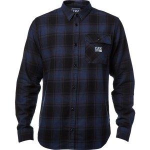 Велорубашка Fox Voyd Flannel, черно-синий 2018Велофутболка<br>Классическая фланелевая рубашка от Fox. Модель выполнена из плотной хлопковой ткани, а основные её особенности – нагрудный карман и нашивка с логотипом бренда.<br><br><br><br>ОСОБЕННОСТИ<br><br><br><br>Материал: 100% - хлопок<br><br>Нагрудный карман<br><br>Нашивка с логотипом бренда<br>