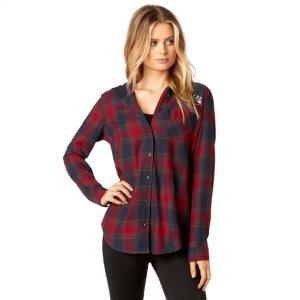 Велорубашка женская Fox Deny Flannel, темно-красный 2018 рубашка fox цвет красный