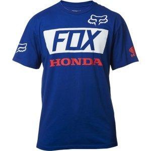 Велофутболка Fox Honda Basic Standard Tee, синий 2017Велофутболка<br>Высококачественная футболка с коротким рукавом от Fox. Модель из плотной хлопковой ткани, выполненная в командной расцветке Fox Racing/Honda.<br><br><br><br>ОСОБЕННОСТИ<br><br><br><br>Материал: 100% - хлопок<br><br>С-образный вырез<br><br>Командная расцветка Fox Racing/Honda<br>