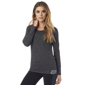 Велофутболка женская Fox Certain LS Tee, черный 2016Велофутболка<br>Оригинальная футболка с длинным рукавом от Fox. Модель выполнена из мягкой меланжевой ткани, и основные её особенности – оригинальный вырез на спине и принт в виде логотипа бренда.<br><br><br><br>ОСОБЕННОСТИ<br><br><br><br>Материал: 83% - полиэстер, 13% - вискоза, 4% - спандекс<br><br>Оригинальный вырез на спине<br><br>Принт в виде логотипа бренда<br>