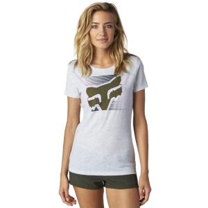 Велофутболка женская Fox Crossed Up Crew, светло-серый 2016Велофутболка<br>Приталенная женская футболка от Fox. Модель выполнена из плотной хлопковой ткани и декорирована оригинальным принтом.<br><br><br><br>ОСОБЕННОСТИ<br><br><br><br>Материал: 55% - хлопок, 45% - полиэстер<br><br>Приталенный крой<br><br>Оригинальный принт<br>