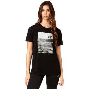 Велофутболка женская Fox Picogram SS Crew, черный 2018Велофутболка<br>Оригинальная женская футболка от Fox. Модель выполнена из плотной синтетической ткани и декорирована оригинальным принтом.<br><br><br><br>ОСОБЕННОСТИ<br><br><br><br>Материал: 50% - полиэстер, 50% - вискоза<br><br>С-образный вырез<br><br>Оригинальный принт<br>
