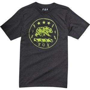 Велофутболка подростковая Fox Youth Revealer SS Tee, черный 2018Велофутболка<br>Высококачественная подростковая футболка от Fox. Модель свободного кроя, выполненная из гладкой плотной ткани и декорированная оригинальным принтом.<br><br><br><br>ОСОБЕННОСТИ<br><br><br><br>Материал: 50% - хлопок, 50% - полиэстер<br><br>С-образный вырез<br><br>Оригинальный принт<br>