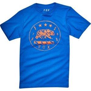 Велофутболка подростковая Fox Youth Revealer SS Tee, синий 2018Велофутболка<br>Высококачественная подростковая футболка от Fox. Модель свободного кроя, выполненная из гладкой плотной ткани и декорированная оригинальным принтом.<br><br><br><br>ОСОБЕННОСТИ<br><br><br><br>Материал: 50% - хлопок, 50% - полиэстер<br><br>С-образный вырез<br><br>Оригинальный принт<br>