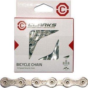 Цепь С10 CLARKS, 1/2х11/128, хромированное покрытие, 10 скоростей, с замком, в коробке, 3-443 велосипедная цепь с замком clark s 1 2х3 32 24 скорости антикор хром 3 132