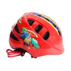 Шлем детский с регулировкой, размер M(52-56см), красный, рисунок - машинки, инд.уп. Vinca Sport
