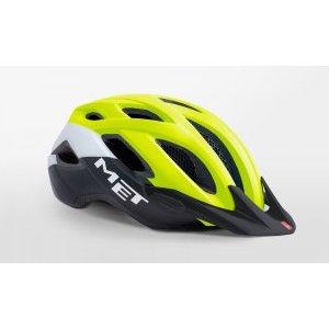 Велошлем Met Crossover Safety, желто-бело-черный 2018