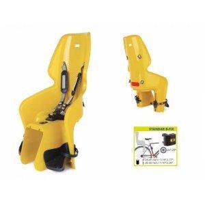 Сидение заднее BELLELLI LOTUS Standard B-fix горчично-жёлтое для ребёнка весом до 22 кгДетское велокресло<br>Сидение заднее BELLELLI LOTUS Standard B-fix<br>Детское заднее вело кресло крепится к велосипеду сзади на подседельную трубу и позволяет перевозить ребенка с года до 7 лет.<br>Крепление bellelli B-Fix позволяет установить вело сиденье как сзади так и спереди.<br>Вес ребенка не должен превышать 22 кг.<br>За счет вентилируемой перфорированной спинки малышу не будет жарко в знойный день.<br>Гибкий стальной держатель снижает нагрузку на позвоночник ребенка за счет амортизации вибраций велосипеда.<br>Пряжка регулируется в двух позициях, позволяет зафиксировать ребенка в вело кресле одним движением, но при этом не может быть случайно расстегнута ребенком. Ремни безопасности могут быть отрегулированы по высоте и длине.<br>Широкая, регулируемая по высоте защита для ног, предотвращает контакт с колесом в любых положениях.<br>Вело кресла BELLELLI соответствуют европейскому сертификату качества TUV и отвечают стандарту безопасности EN 14344. <br>Требования к велосипеду: диаметр колес 26-28 дюймов, рама круглого сечения с диаметром 25-46 мм. или овального сечения с размерами 30-40 мм. на 38-46 мм., для установки крепления на подседельной трубе необходим участок, свободный от кронштейнов, примерно в 8 см.<br>Цвет: горчично-жёлтое<br>